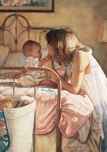 Steve hanks -Mother and Child Bond: Watercolor, Mothers, Child Bond, Stevehanks, Mother And Child, Steve Hanks, Art, Children, Painting