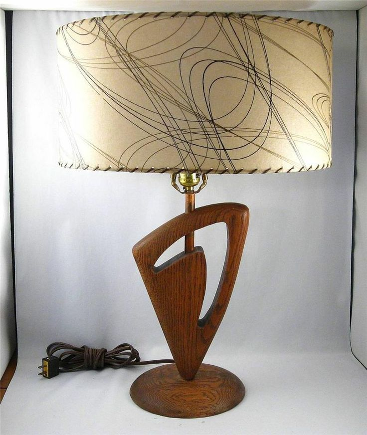 1950 S Majestic Boomerang Oak Table Lamp W Great