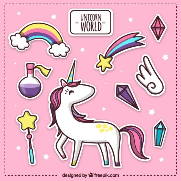mundo unicórnio rosa Vetor grátis