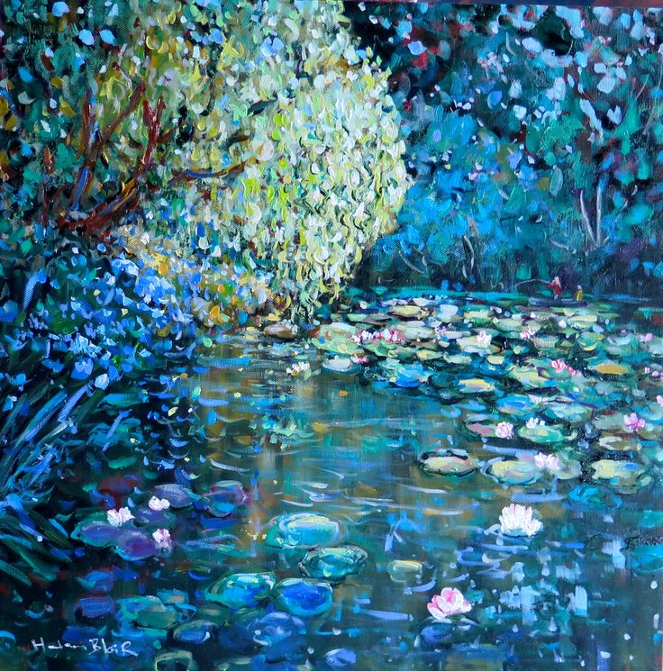Willow over the Lilly pond, www.helenblairsart.co.nz