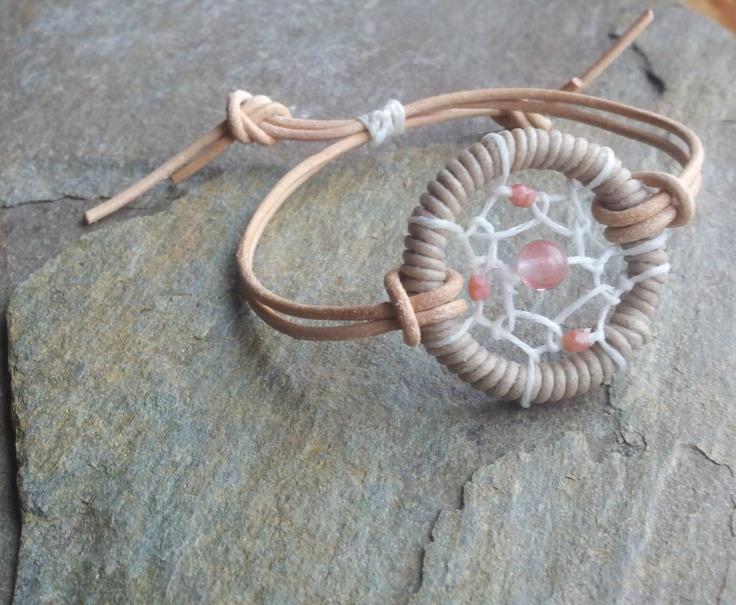 Dream Catcher Bracelet on Adjustable Leather. $20.00, via Etsy.