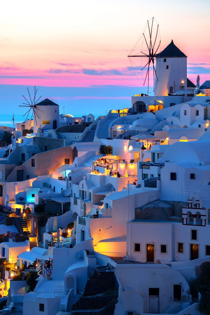 Sunset in Oia, Santorini, Greece. Based in OneOcean Port Vell, Barcelona - We are a luxury yacht rental company redefining the yacht charter experience. www.charterdart.com