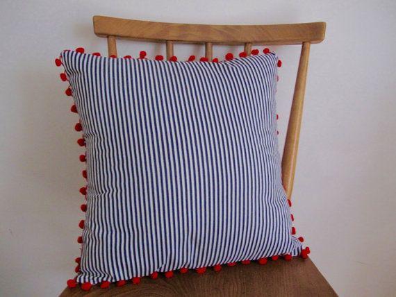 Pompom Nautical Cushion // Blue and White Stripe by StampAndStitch