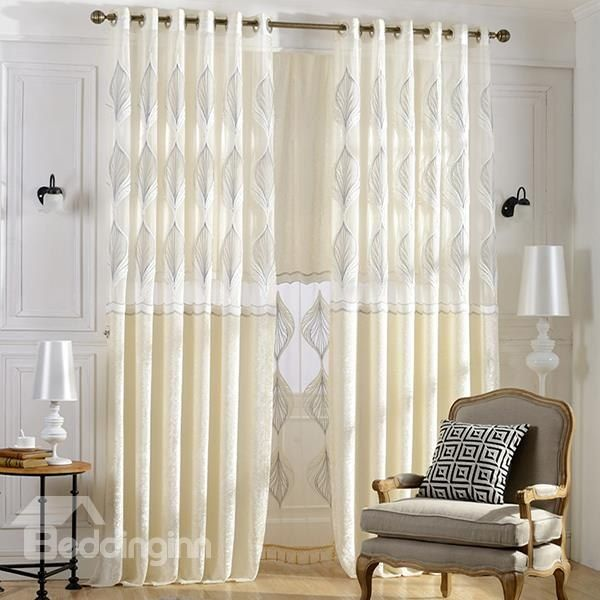 High-Quality White Crushed Velvet Embroidery #Curtain #Sheer Set #home #decor