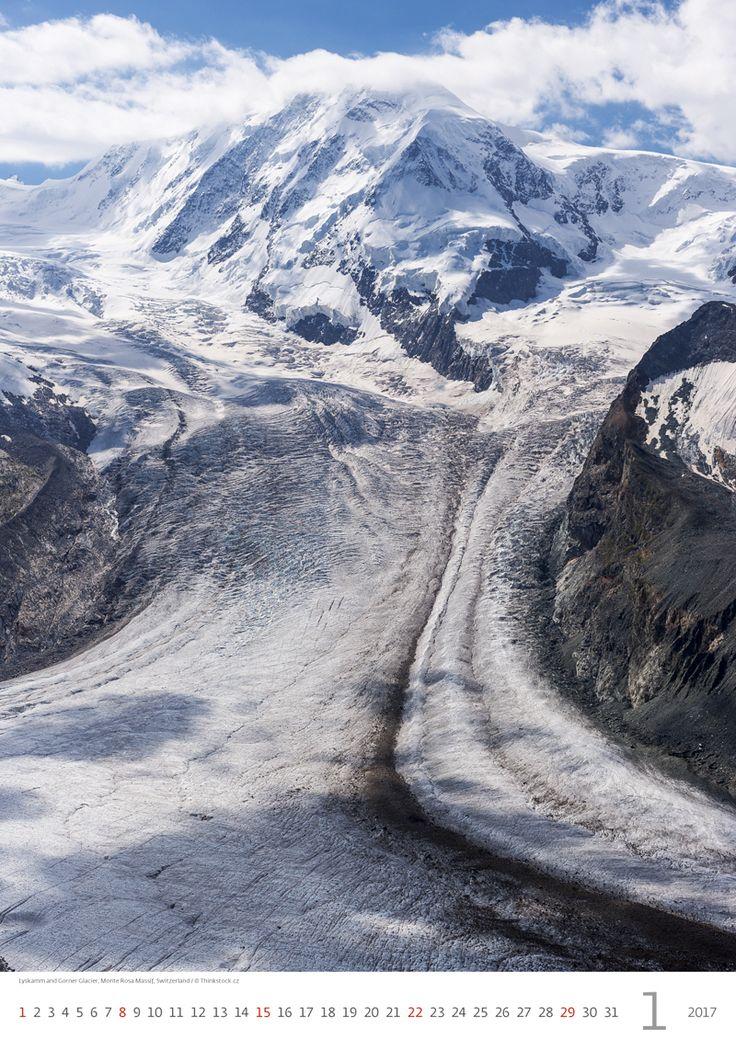 Lyskamm and Gorner Glacier, Monte Rosa Massif, Switzerland / Kalendář Evropa 2017