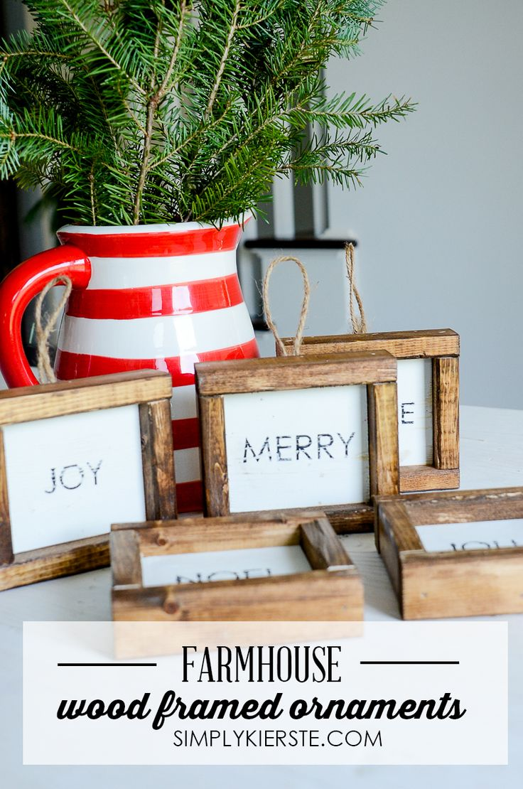Plaid monograms natural wood ornaments feathers and i couldn t - Add Some Farmhouse Style To Your Christmas Tree With These Adorable Wood Framed Christmas Ornaments