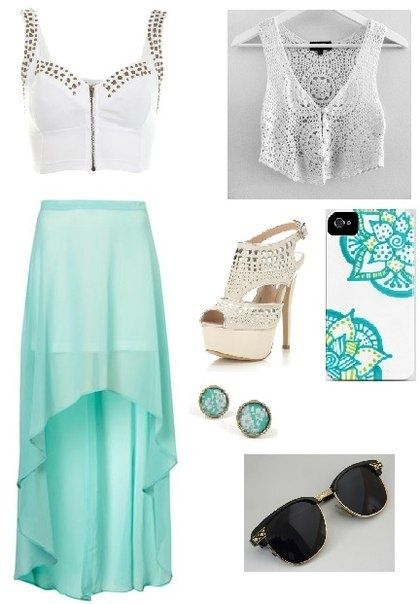 : Parties Outfits, Mint Green, Mint Blue, Dreams Closet, High Low Skirts, Highlow, Summer Outfits, Colors Coordinating, Blue And White