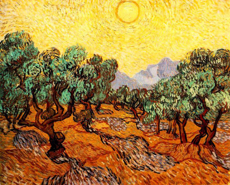 ULIVI CON CIELO GIALLO E SOLE Van Gogh- 1889- Minneapolis Institute of Arts, Stati Uniti d'America