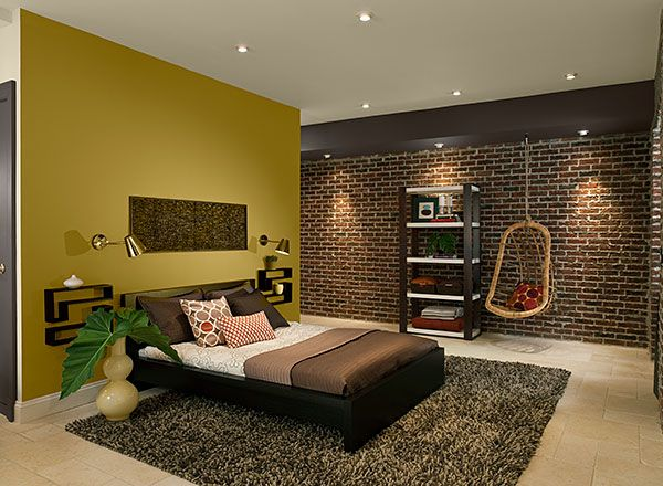 Modern bedroom with yellow-green accent wall @Kate Mazur Dougherty (thinking about your dining room)
