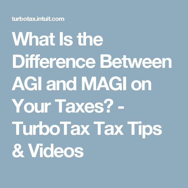 What Is the Difference Between AGI and MAGI on Your Taxes? - TurboTax Tax Tips & Videos