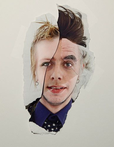 Ripped and torn collage of portraits. by John Clang