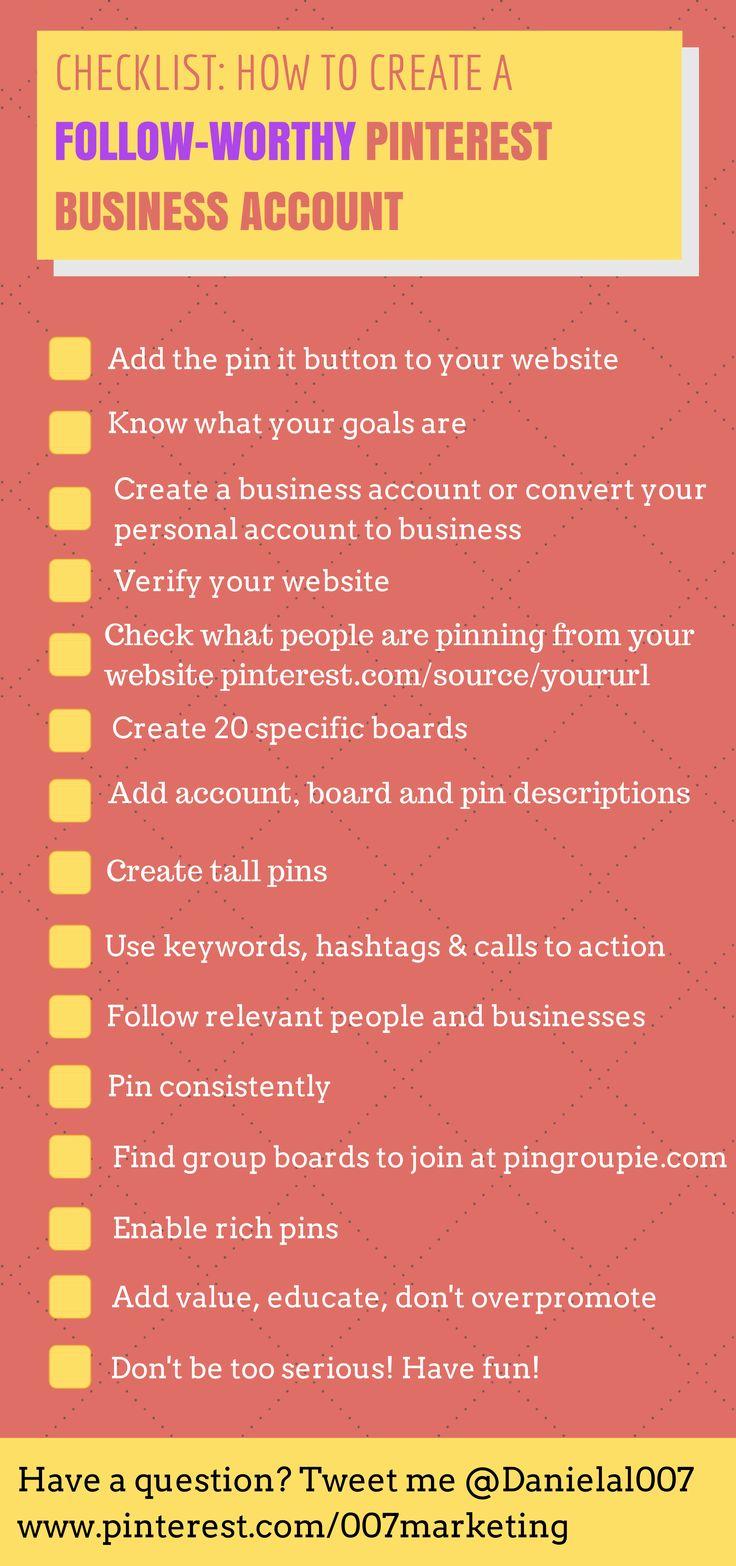 Checklist: How to Create a Follow-Worthy #Pinterest Business Account #socialmedia