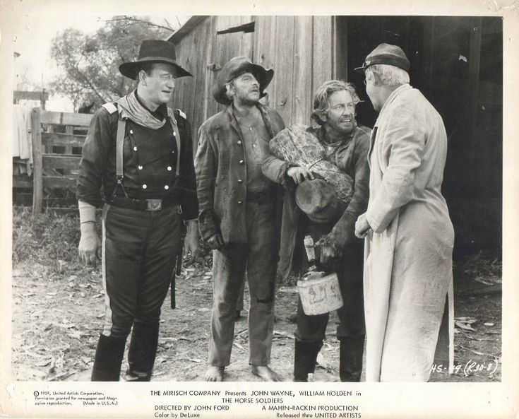 "John Wayne, Denver Pyle, Strother Martin and O.Z. Whitehead in ""The Horse Soldiers"" (1959)."