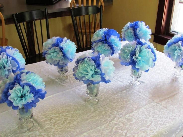 Photo 6 Of 24   Baby Shower Decorations Girl 8 Hanging Tissue Poms ... Baby  Shower CenterpiecesCenterpiece IdeasTable ...