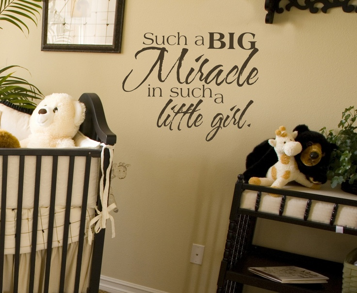 20x15 Little Girl Miracle Big Babies Baby Vinyl Wall Lettering Words Quotes Decals Art Custom Willow Creek Signs. $19.95, via Etsy.