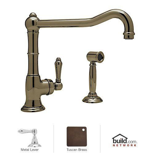 rohl cinquanta kitchen faucet in polished chrome with side spray - Rohl Faucets