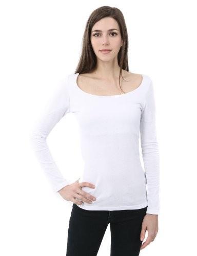 Doublju Women is Sheer Rib Long-Sleeve Scoop Neck T-Shirt WHITE L