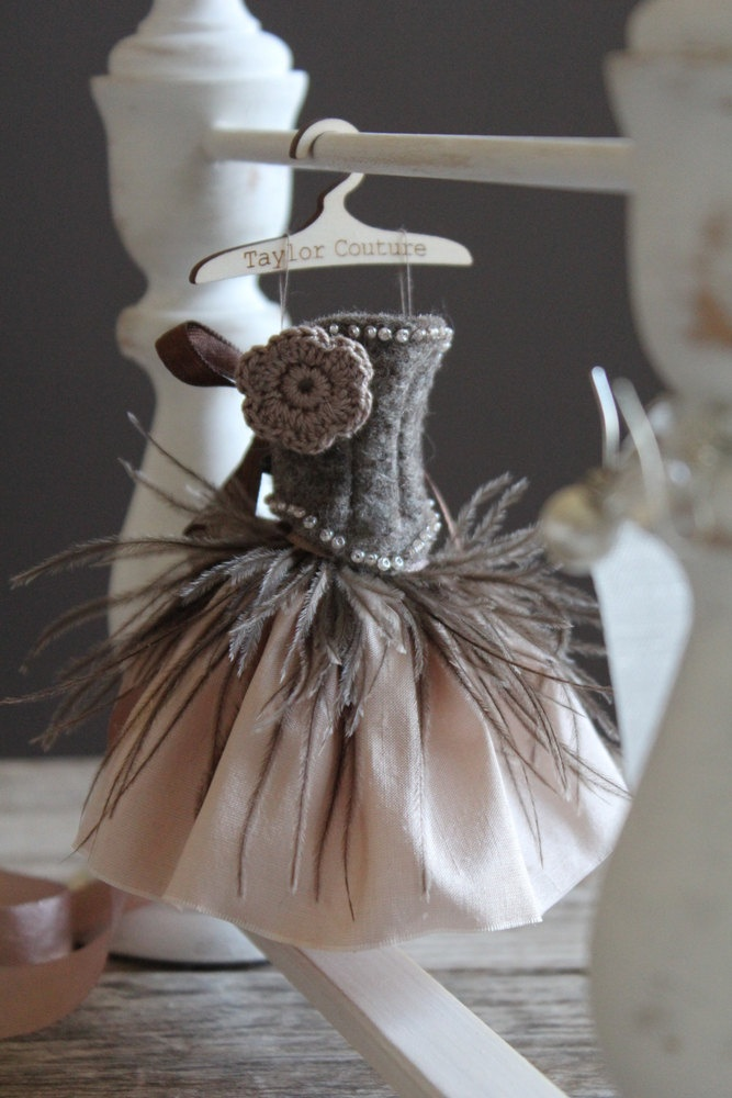 For Blythe.  Feather and Silk wrap skirt and Beaded Merino Wool Bodice. Heather Brown.