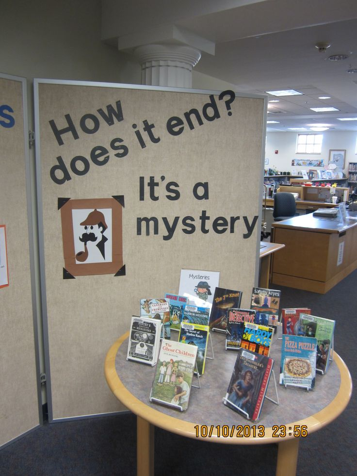 mystery books-good idea for bulletin board