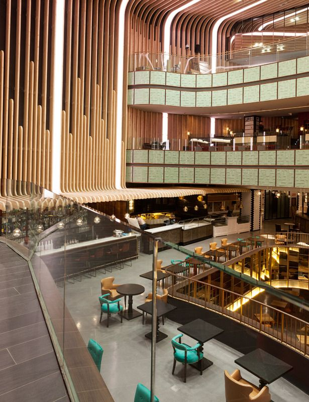 Platea, Madrid. MADRID'S NEW FOOD DESTINATION IS IN A FORMER MOVIE THEATER. Platea is now a glittering multi-level food court and dazzling nightlife destination