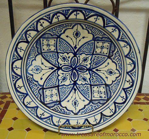Fez Large Moroccan Ceramic Plate Pottery Spanish Salad Pasta Bowl | eBay
