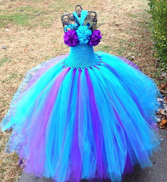 Peacock Couture Flower Girl Tutu Dress/ by princesstutus2010
