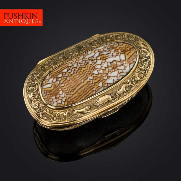 ANTIQUE 18thC CONTINENTAL 18K GOLD-MOUNTED COWRY SHELL SNUFF BOX c.1780