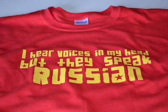 Russian T shirt funny russian voices mens clothing soviet cccp ussr tshirt screenprint red shortsleeve tee communist parody humor cool gift