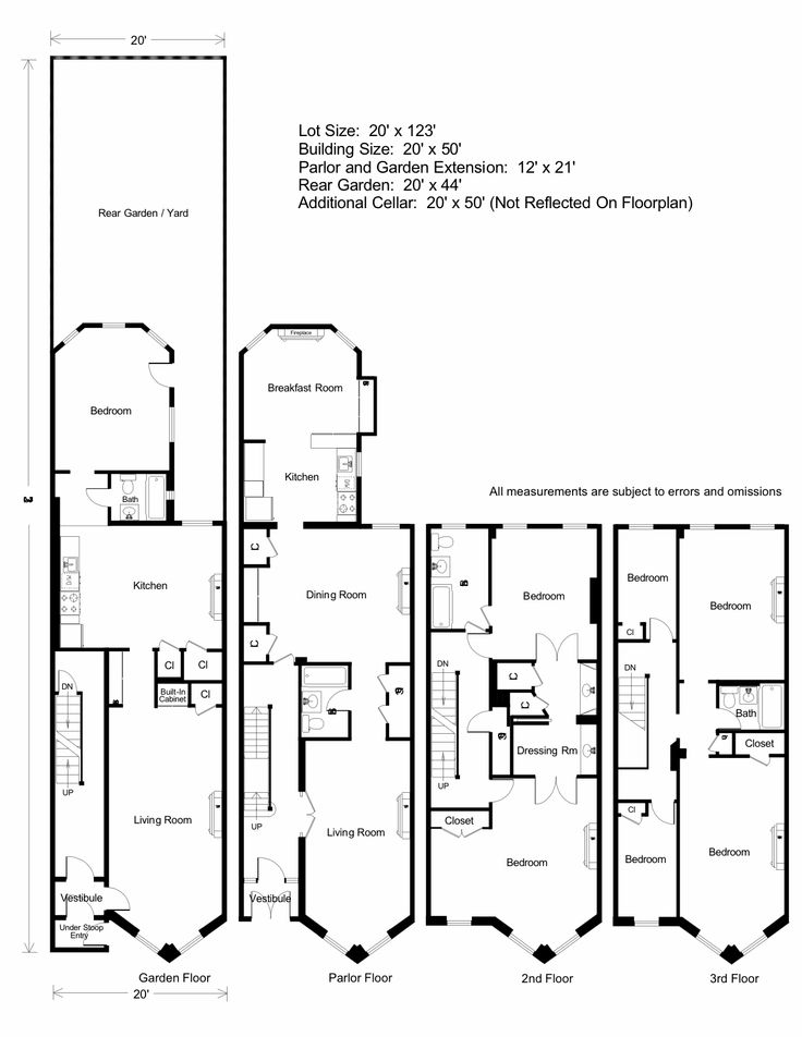 Brownstone floorplan architecture pinterest for Brownstone plans