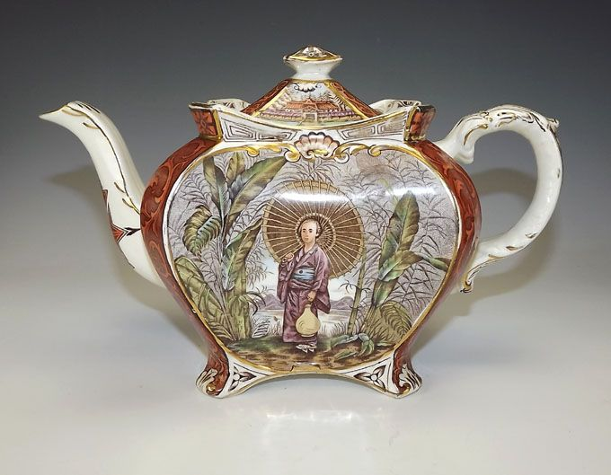 Antique English Staffordshire Japanese Inspired Teapot