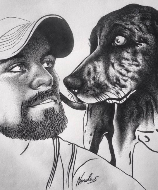 A man + his doge. Original pointillism piece by Nordacious, 2016.