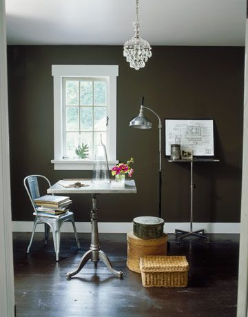 The dark paint color in kevin 39 s second floor office ralph - Small office paint color ideas ...