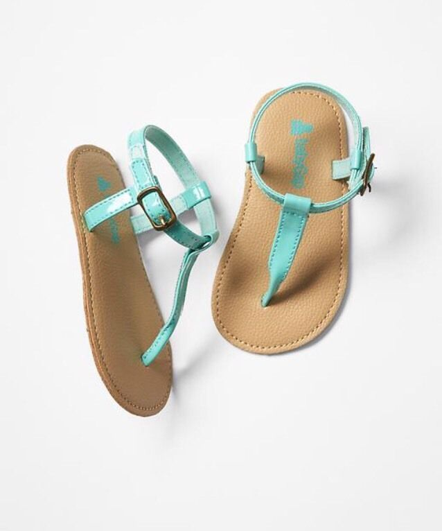GAP Baby Girl Size 0-3 Months NWT Turquoise Patent Thong T-Strap Sandals Shoes #babyGap #Sandals