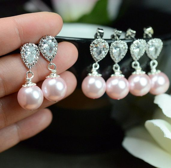 Pearl Bridal Earrings Soft Pink Blush Pearl Earrings Cubic Zirconia Sterling Silver Post Wedding Jewelry Bridesmaid Gift Pastel Rose Jewelry on Etsy, $29.99