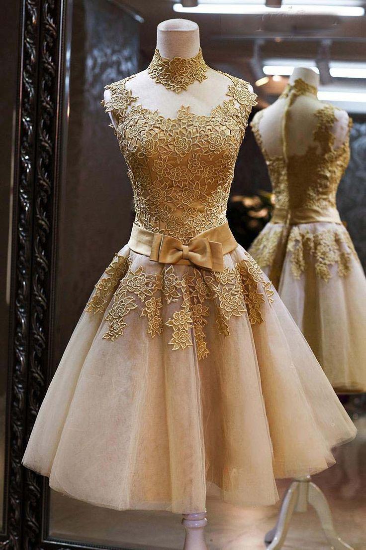 2016 heißer Verkauf Günstige High Neck Gold Spitze Cocktailkleid Dame mädchen Kleid Vestidos de Gala Kurzes Abend-abschlussball Mit Bogen gürtel //Price: $US $133.00 & FREE Shipping //     #cocktailkleider