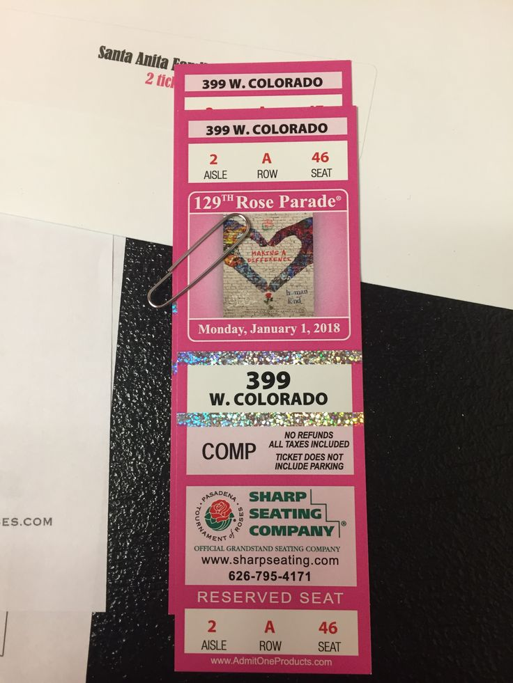 "Rose Parade Tickets For Sale ""Row A"" Prime Location * I can't make it to the 2018 Rose Parade this year & I won these amazing tickets from a silent auction for the YMCA Gala that I recently attended. Please contact me if you are interested & I'll send you all the details. Tickets are $250 (O.B.O.) for the two tickets & they are for the stands at 399 W. Colorado Blvd. Aisle 2, Row A, Seats 46 & 47! Call or text me at (626) 253-4557 for more information ;) #RoseParade #RoseParadeTickets"