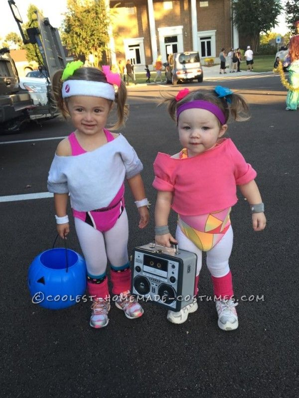 cutest 80s workout girls couple costume for toddlers - Pictures Of Halloween Costumes For Toddlers