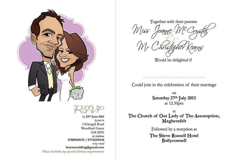 Caricature wedding invitation