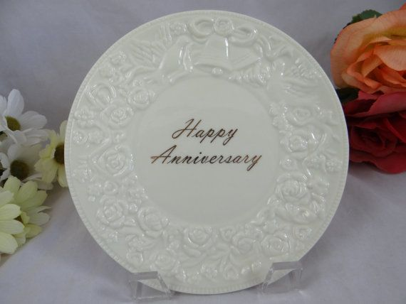 Vintage Porcelain Happy Anniversary Small Plate by SecondWindShop, $6.00