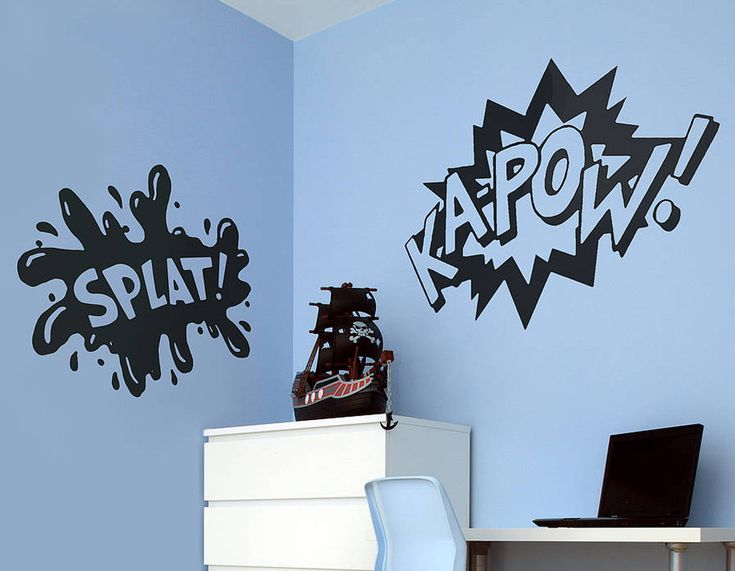 Turn your bedroom or living room wall into your very own comic strip with these bold
