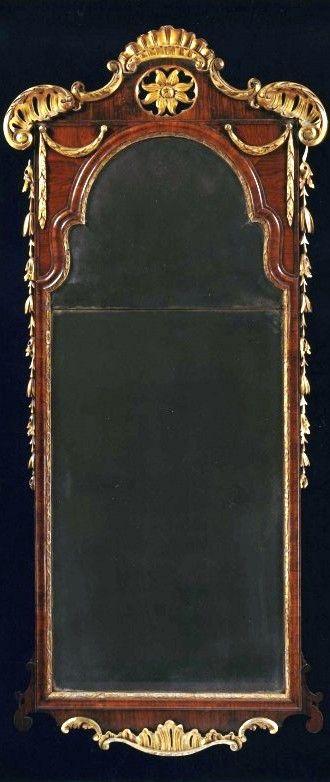 Mahogany-Mirror English 1735 A GEORGE II PADOUK AND GILTWOOD PIER MIRROR