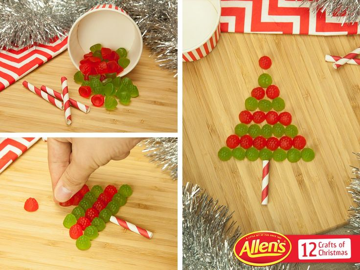 Why not have fun with just red and green ALLEN'S Lollies? Get creative with cake decorations and JELLY TOTS. They're fun to share, just like this Christmas tree!