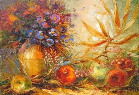 """Andras Manajlo """"Still life with apples and flowers"""""""