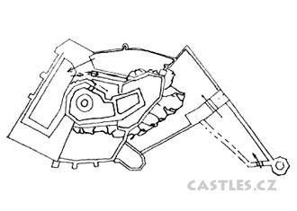 Sovinec plan. Outer walls, rock base of main castle