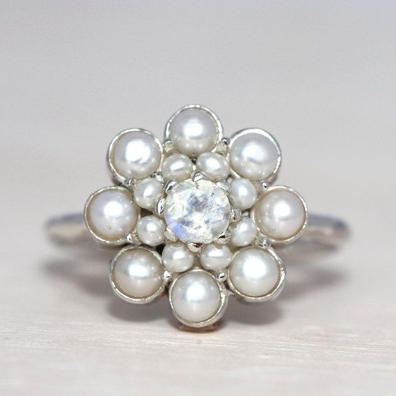 Pearl cluster ring  anniversary ring  silver and by AliceMagnin