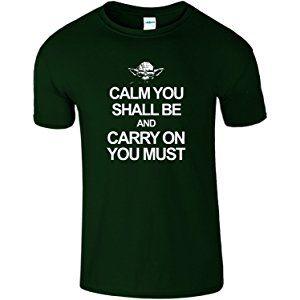 Calm Carry Yoda Mens Kids T-Shirt Star War Funny Top Tee