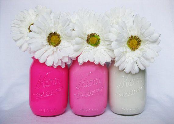 Pink Mason Jars Painted Mason Jars Colored por TheCraftyEngineerx