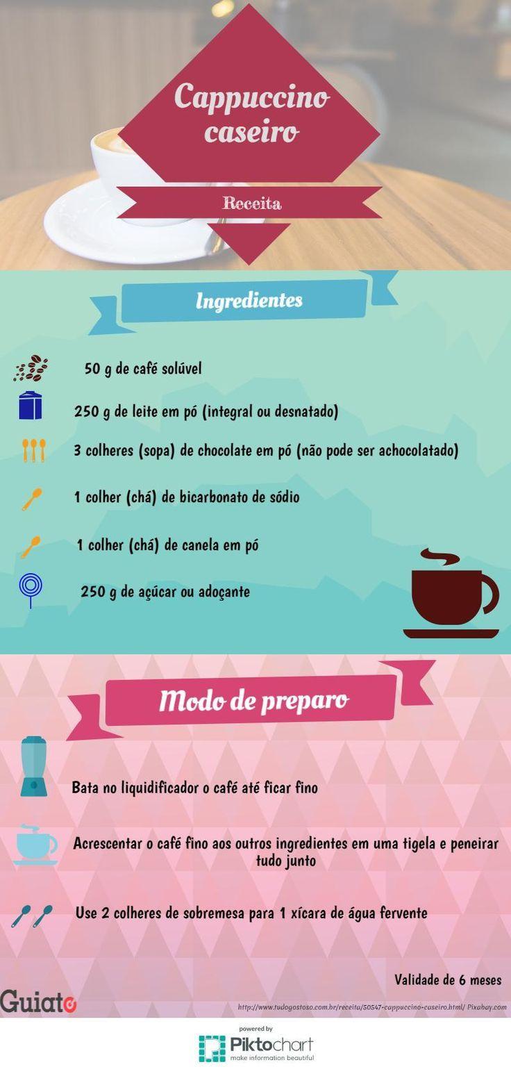 Como preparar um Cappuccino Caseiro e delicioso? Esse infográfico do Guiato te mostra. #cafe #caseiro #cappuccino