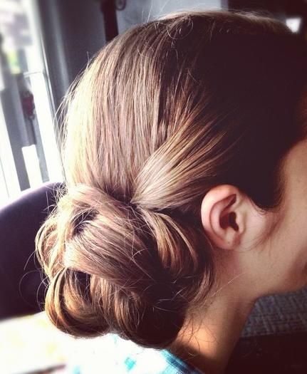 low chignon. I just like how it says chignon, cuz Lindsey Mayfield says it whenever someone wears a bun at church. :) haha