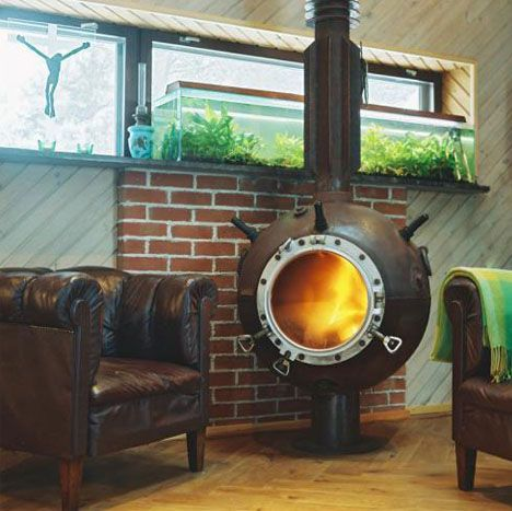 recycled underwater mine fireplace